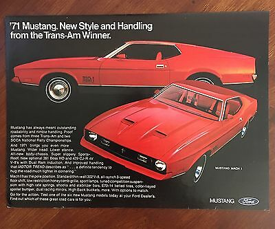 1971 Original Print Ad Red FORD MUSTANG Mach 1 ~from the Trans-Am Winner~
