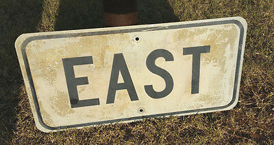 Authentic Retired TEXAS Highway Road SIGN Vintage EAST Sign