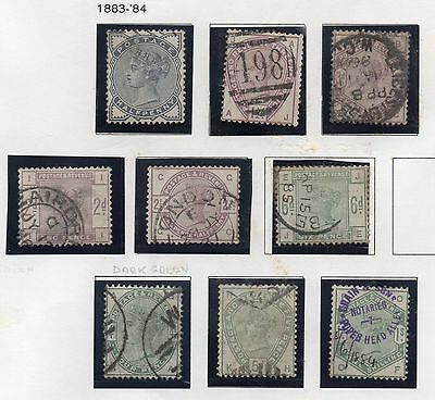 GB VICTORIA 1883-84 Lilac & Green STAMPS Surface-Printed 9v REF:WA15