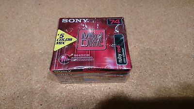 5 Pack of Sony Mini Disks 74 minutes colour mix shock absorbing