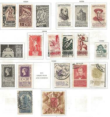 14 Mexico Stamps from Quality Old Album 1938-1940