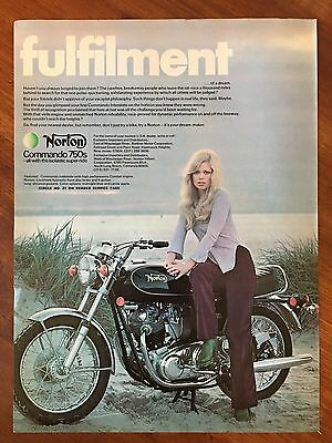 Vintage 1973 Original Print Ad NORTON COMMANDO 750s MOTORCYCLE ~Fulfillment~