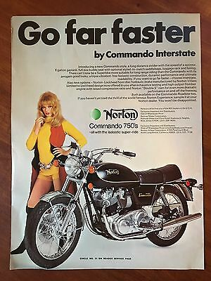 Vintage 1972 Original Print Ad NORTON Commando 750 MOTORCYCLE ~Go Far Faster~