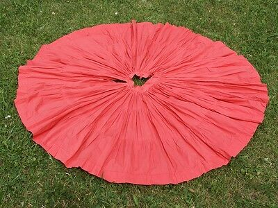"vtg 50s pink CORAL cotton CIRCLE SKIRT 25"" waist mid century swing"