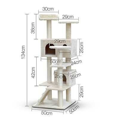 NEW Cat Scratching Post Tree Pole Kitten House Beige Condo Climb Plush Bed Cube