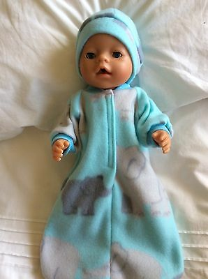 "Doll clothes - Sleeping Bag & hat to fit 17"" Baby Born Boy/girl Mint - Elephants"