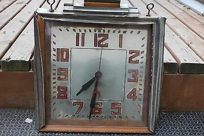 Very Rare Antique Hammond Clock Reverse Painted Glass Art Deco Wood Chrome Sign