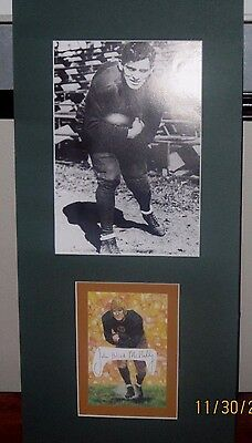 JOHNNY BLOOD MCNALLY SIGNED cut Goal Line Art matted w/ photo Green Bay Packers