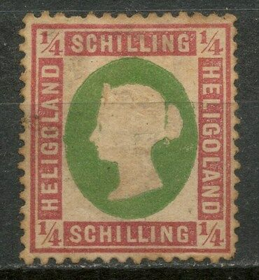 HELIGOLAND 1869-73 1/4s ROSE & GREEN Die II MH* STAMP, SIGNED! -CAG 050317