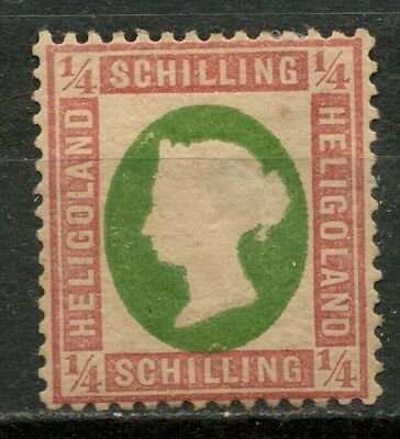 HELIGOLAND 1869-73 1/4s ROSE & GREEN Die III MH* STAMP -CAG 050317