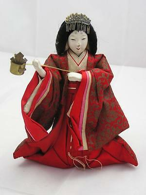 Antique Japanese hina doll (courtier) with silk kimono 1900-12 #3889A