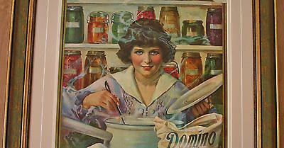 """WWI 1917 Domino Sugar ARS Poster """"Save the Fruit Crop"""" Framed in Statuary Green"""