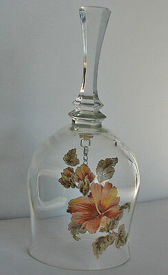 """Vtg 6"""" Avon Lead Crystal Bell Clapper Hibiscus Flowers Buds Leaves Gold Leafing"""