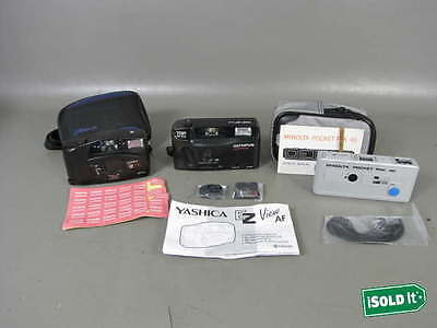 3 Vintage Working 35Mm Film Camera Lot Minolta Pocket Pack 40 Yashica & Olympus