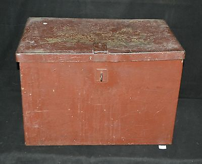 ThriftCHI ~ Vtg Heavy Cast Iron Lock Strongbox Shipping Container Air Hole Vents
