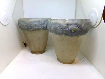 2 Vintage Satin Glass Lamp Shade or Sconce - Embossed Blue Floral Edge