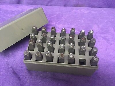 "Vintage HANSON 1/4"" A-Z Steel Punch Stamp Die Set Metal Letters In Case.20300"