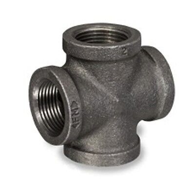 1 1/2 Inch Black Malleable Iron Pipe Threaded Cross Fittings Plumbing - P6677