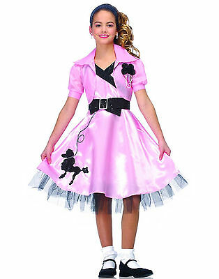 Hop Diva Pink Black 50s Poodle Party Dress Girls Halloween Costume - Small