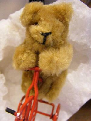 """Antique Vintage Miniature 3"""" Schuco 5 way Jointed TEDDY BEAR Riding Red Bicycle"""