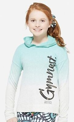 NWT JUSTICE Girls 10 12 Aqua and Gray Ombre GYMNAST Pullover Hoodie