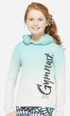 NWT JUSTICE Girls 6 7 8 10 12 Aqua and Gray Ombre GYMNAST Pullover Hoodie