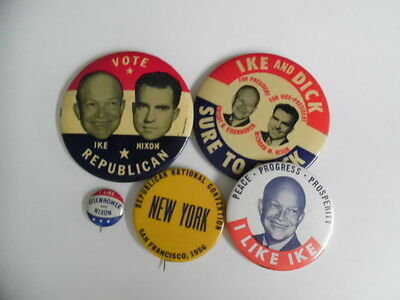 1952-56 Eisenhower Presidential Campaign Pinback Button Lot of 5 Vintage VG