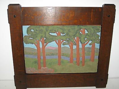 Fine Arts & Crafts style Contemporary Pottery Tile Oak Frame Tzadi Turrou