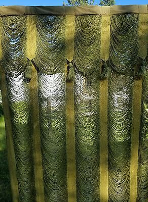 Beautiful Edwardian Victorian Antique Theater Curtains - Mossy Gold-Green