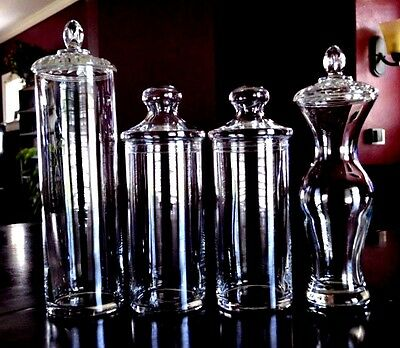 4-Tall Glass Displays Apothecary Or Candy Jars Wedding Buffet