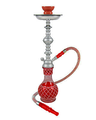"19"" Nicolette Red 1 Hose Junior Hookah Shisha Hooka Shisha Pipe Glass + BONUS"
