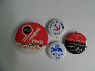 1972 Communist Party Presidential Campaign Pinback Button Lot of 4 Vintage VG
