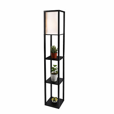 Wood Shelf Floor Lamp Linen Shade Light Storage Organizer Living Room Black Home