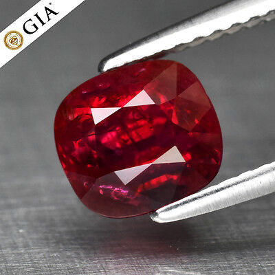 RARE! 2.03ct Cushion Natural Unheated Red Ruby *Full Report GIA Certified