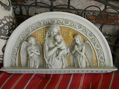 Breathtaking Architectural Arched Relief Header~Virgin Mary~Baby Jesus~Angels