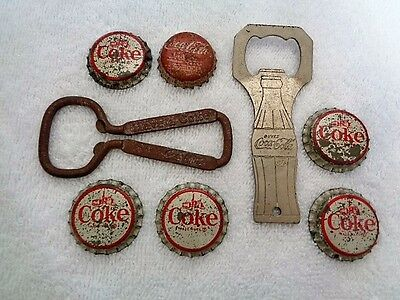 8 Piece Lot (2) x Vintage Coca-Cola Bottle Openers & (6) x Old Coke Bottle Caps