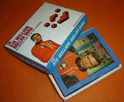 SIX MILLION DOLLAR MAN rare PUZZLES CUBES nice Argentina Toy in box Lee Majors