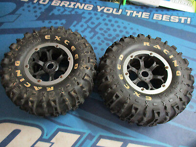 Exceed Racing crawler tires and rims, 1/8 bead locks 17mm (2)