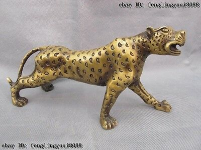 Chinese Folk Copper Bronze Fengshui Lucky Wealth Leopard Cheetah Statue
