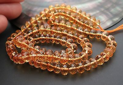 107  AAAAA GEM GOLD ORANGE FACETED CITRINE RONDELLE 5.9-6.2mm BEADS 16.5""