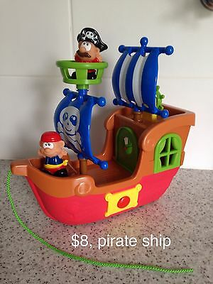 Musical Pirate Ship With Wheels And Pull Along String