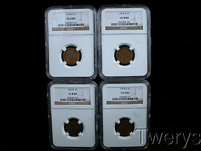 Lot Of 4 Pieces 1914-S Lincoln Small Cents Ngc Vg 8 Bn