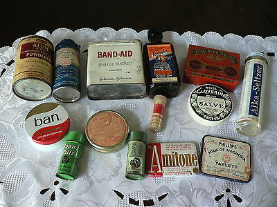 Vintage Medical Pharmacy Tins Lot Of 14, Band Aid, Alka Seltzer, Lilly, Etc
