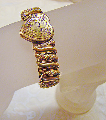 Victorian GF Heart stretch Bracelet, signed made in USA, Carmen-the D.f.b. Co.