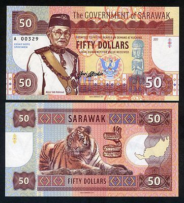 Sarawak, Malaysia, 50 dollars, 2017, Private Issue, UNC - Calm Tiger