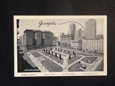 Vintage Postcard JOSEPH'S FLORISTS Union Square San Francisco Real Photo Advert