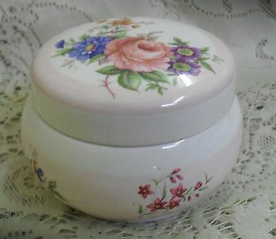 Lord Nelson Pottery Pink Striped Floral Lidded Trinket Dish Made In England