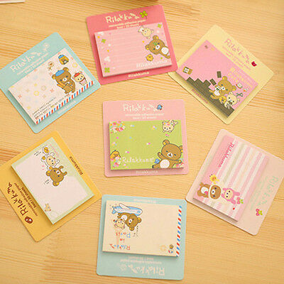 5pcs Cute Cartoon Bear Removable Adhesive Memo Pad Paper Sticky Note Page Marker