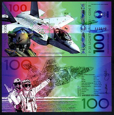 USA, $100, Private Issue Polymer Banknote, 2017, Fighter Jet, F-35, Air Force