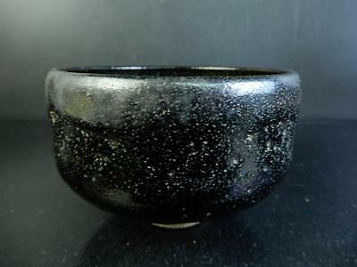 F6674: Japanese Old Raku-ware Black glaze TEA BOWL Green tea tool, auto